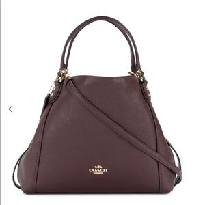 Coach Edie shoulder bag 28 pebble oxblood leather